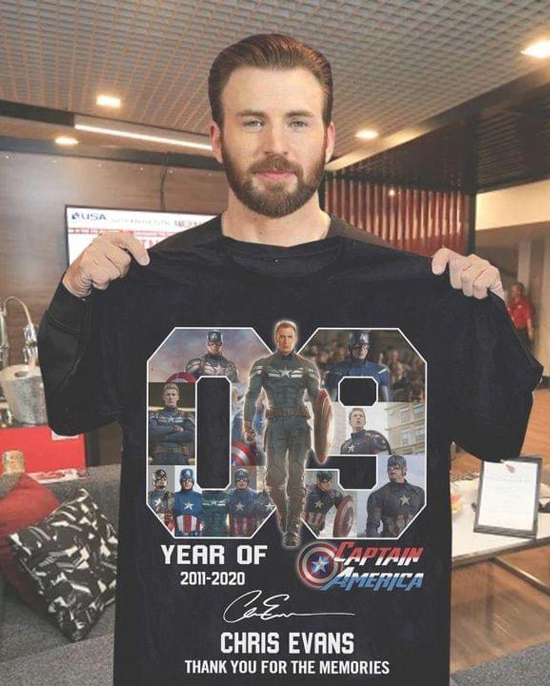 09 Year Of Captain America Tee Chris Evans Signature Avengers Legends Black T Shirt Men And Women S-6XL Cotton