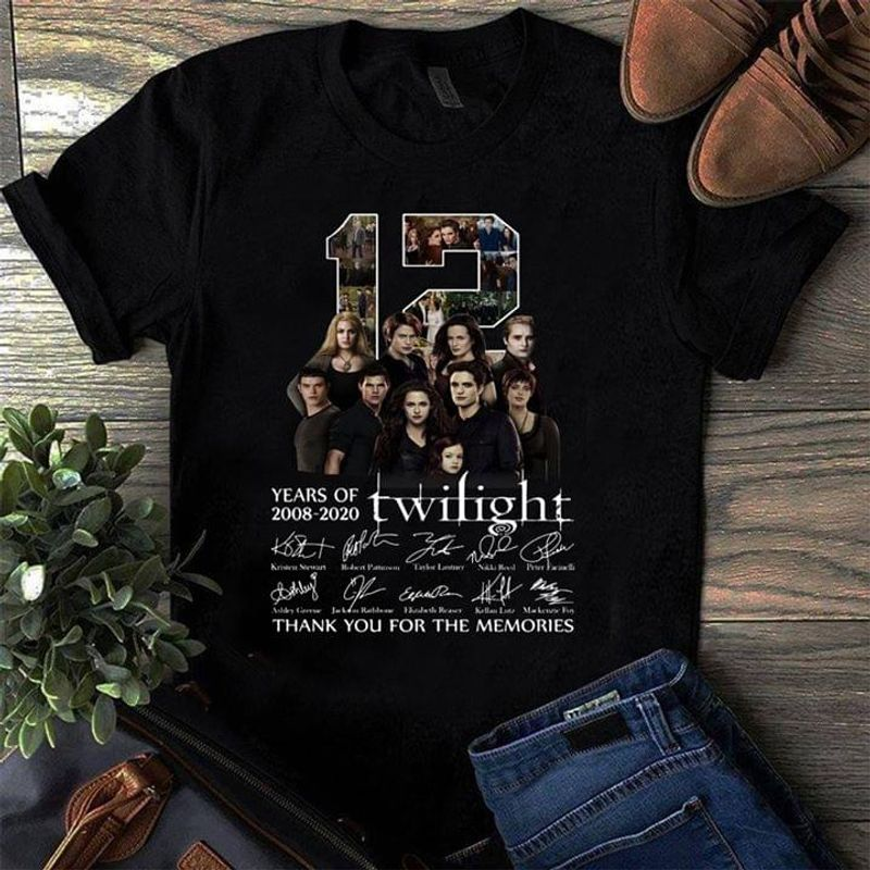 12 Years Of Twilight Image And Signatures Thank You For The Memories Black T Shirt Men And Women S-6XL Cotton