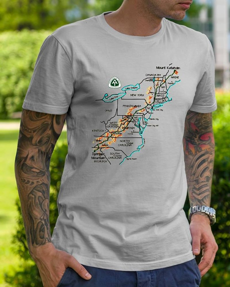 14 States Appalachian Trail T Shirt Grey A3