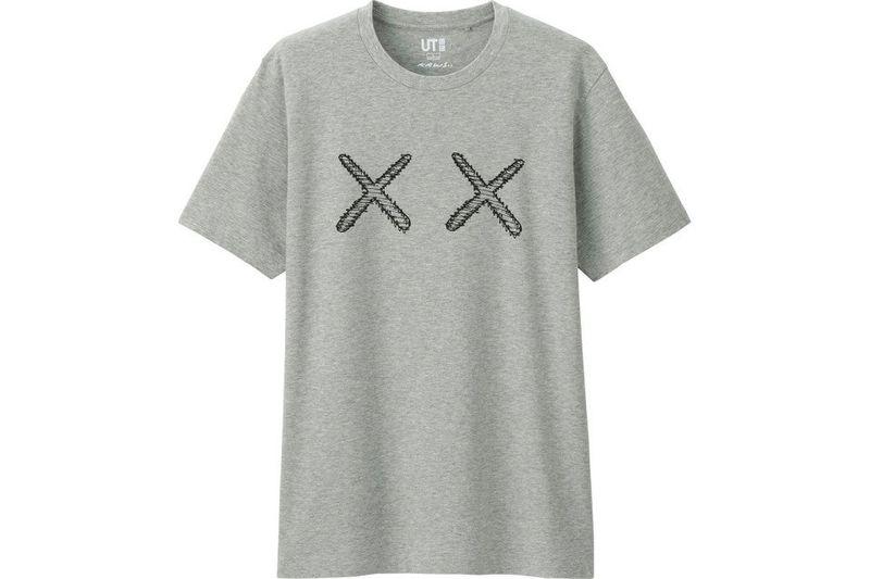 2016 Kaws Uniqlo Grey Graphic Tee Shirt