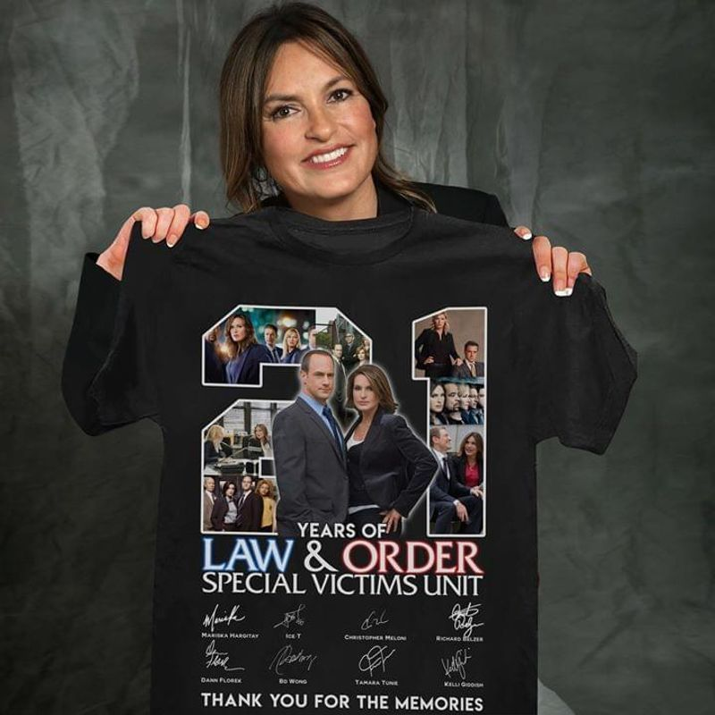 21 Years Of Law And Order Special Victims Unit Thank You The Memories Signatures T-shirt Black