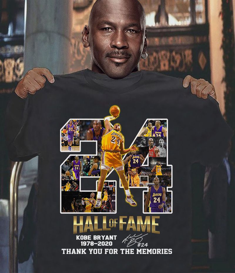 24 Hall Of Fame Kobe Bryant 1978 2020 Thank You For The Memories   T-shirt Black B1