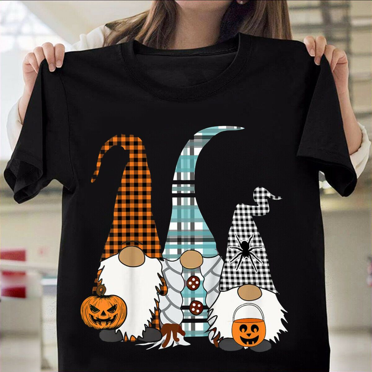 3 Halloween Gnomes Trick Or Treat Nordic Gnomes Plaid T-Shirt