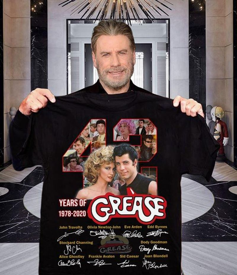 42 Years Of Grease Signatures T Shirt S-6XL Mens And Women Clothing