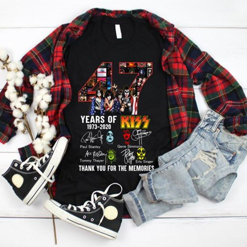 47 Years Of Kiss 1973 2020 Signature Thank You For The Memories T-shirt Black A2