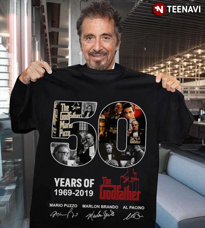 50 Years Of The Godfather With Actor Signature T Shirt Black