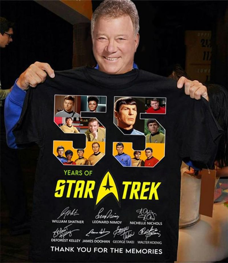 55 Years Of Star Trek Thank You For The Memories Signatures Black T Shirt Men/ Woman S-6XL Cotton