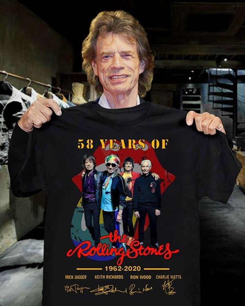 58 Years Of The Rolling Stones Signatures Black T Shirt Men/ Woman S-6XL Cotton