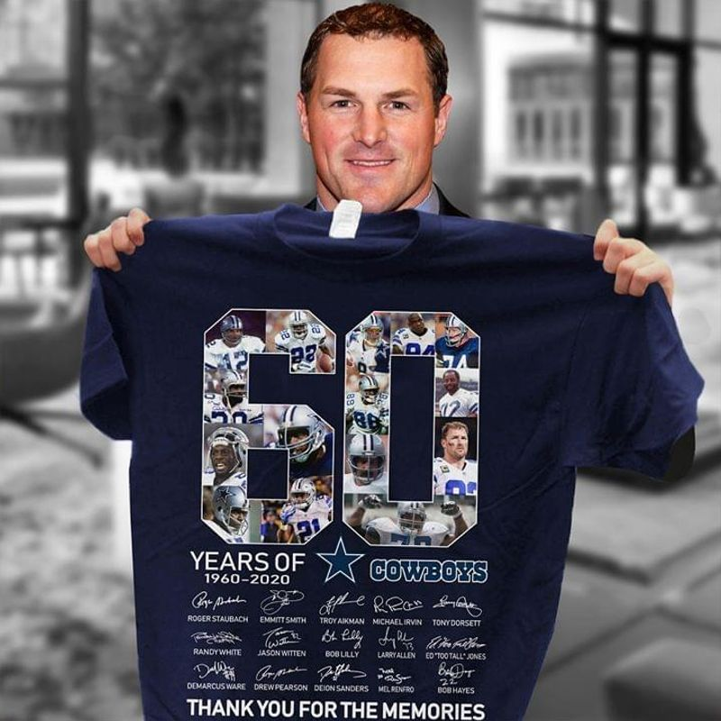 60 Years Of 1960-2020 Cowboys Signature T Shirt Black A5