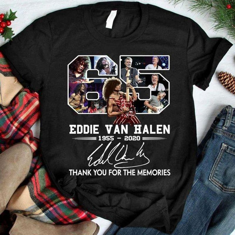 65 Years Of Eddie Van Halen Signature Thank You For The Memories Black T Shirt Men And Women S-6XL Cotton