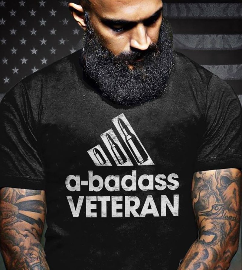 A-badass Veteran Bullet T-shirt Black B4