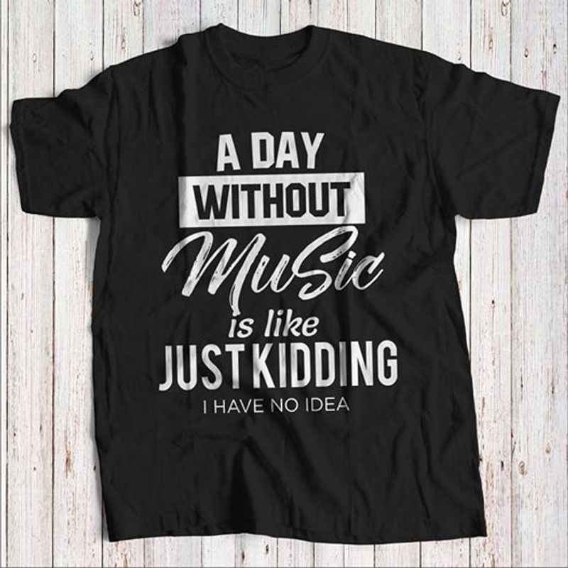 A Day Without Music Is Like Just Kidding I Have No Idea  T-shirt Black A5