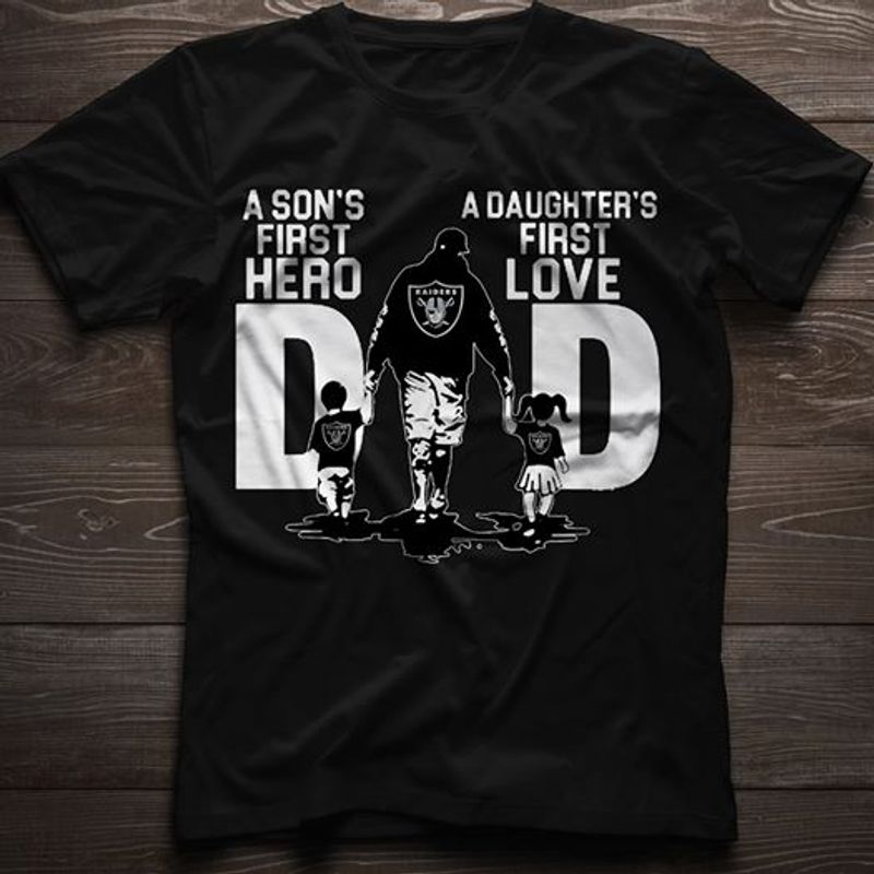 A Son's First Hero A Daughter's First Love Dad  T-shirt Black A5