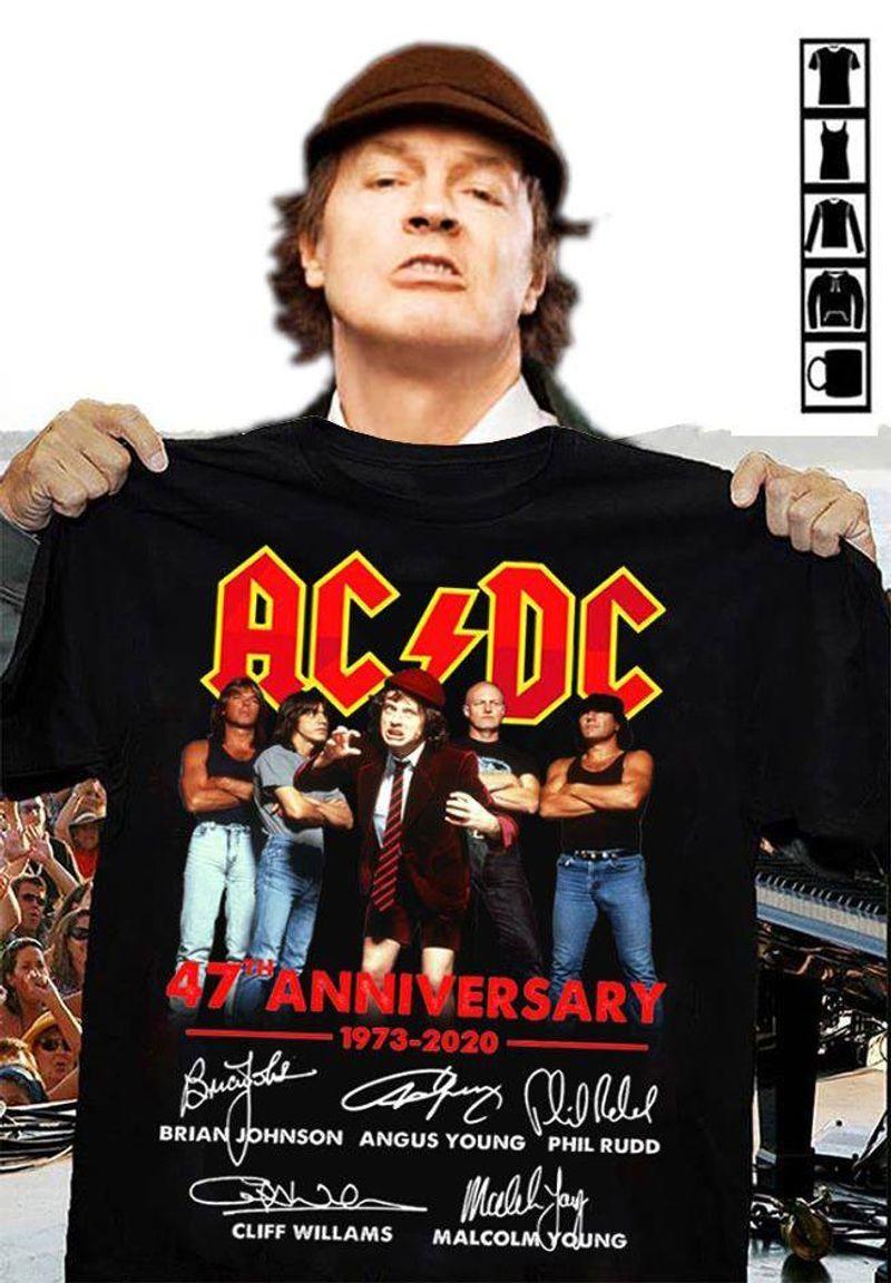 Ac Dc 47 Anniver Sary 1973 2020 Brian Johnson Angus Young Phil Rudd T-shirt Black B1