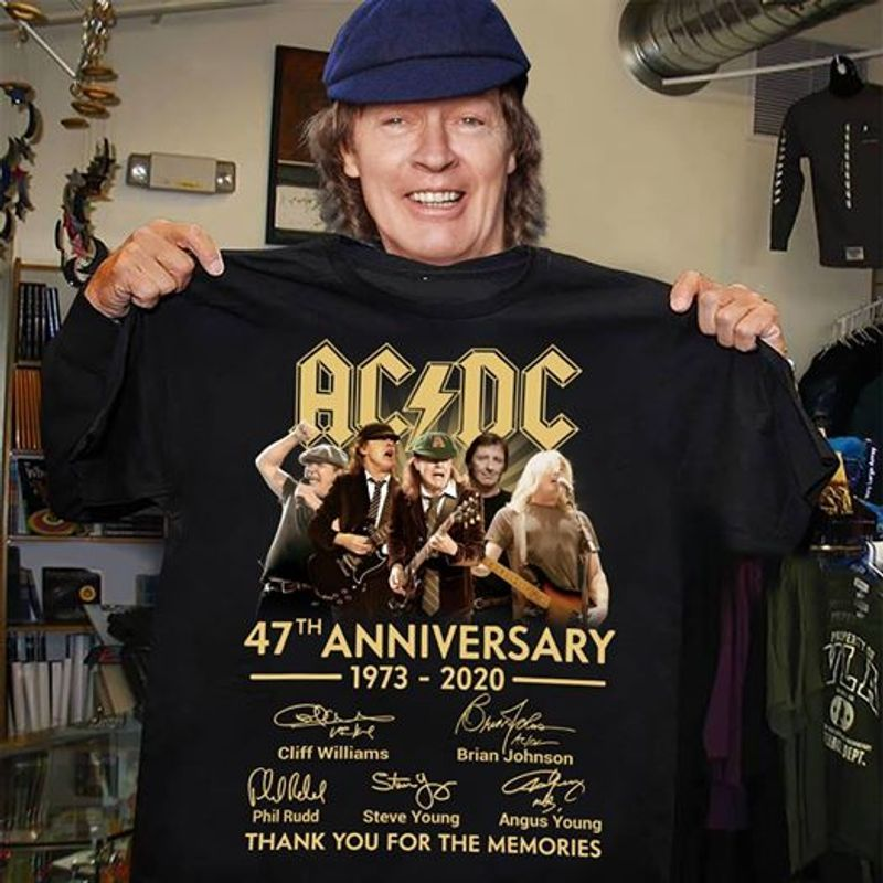 ACDC 47th Anniversary 1973 2020 Signatures Thank You For The Memories T-shirt Black