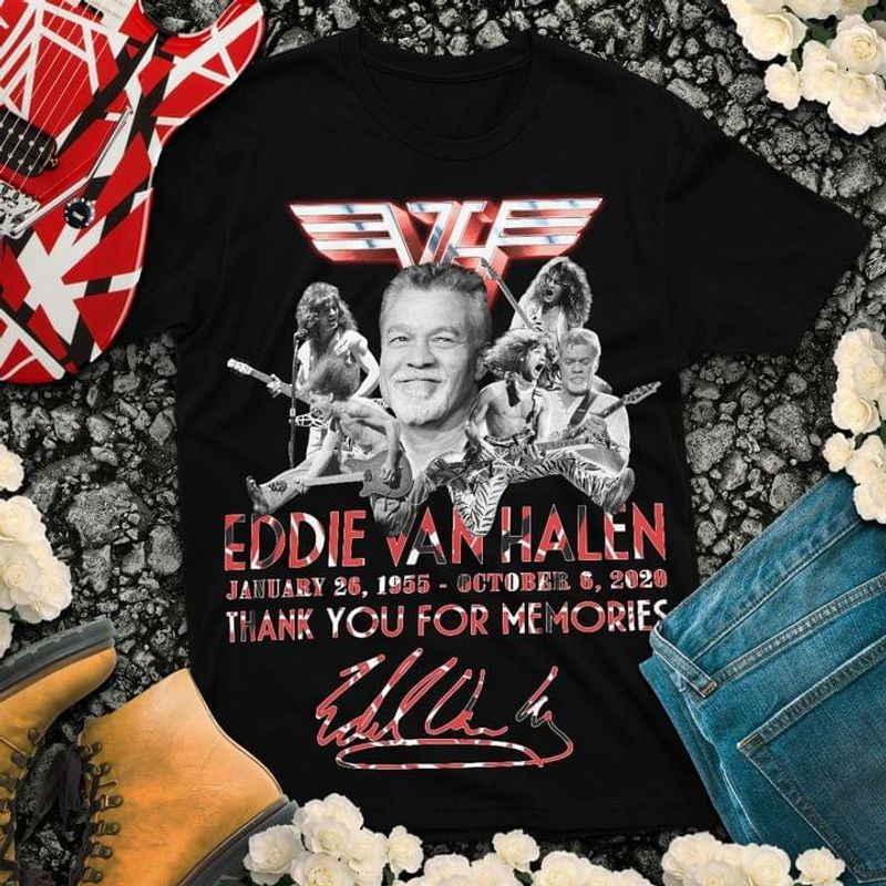 Addie Van Halen Signature Thank You For The Memories Perfect Gift For Fans Black T Shirt Men And Women S-6XL Cotton