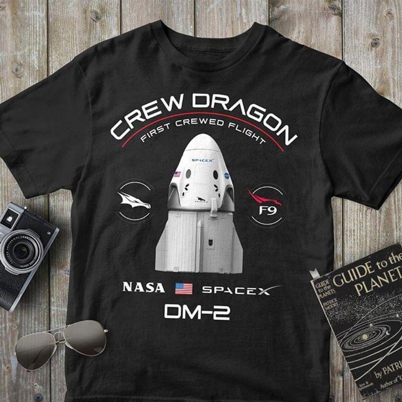 Aeronautics And Space Lovers Crew Dragon Nasa Om-2 Black T Shirt Men And Women S-6XL Cotton