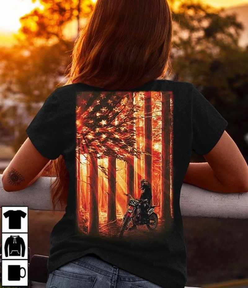 American Bike American Flag Sunset Forest Independence Day Black T Shirt Men/ Woman S-6XL Cotton