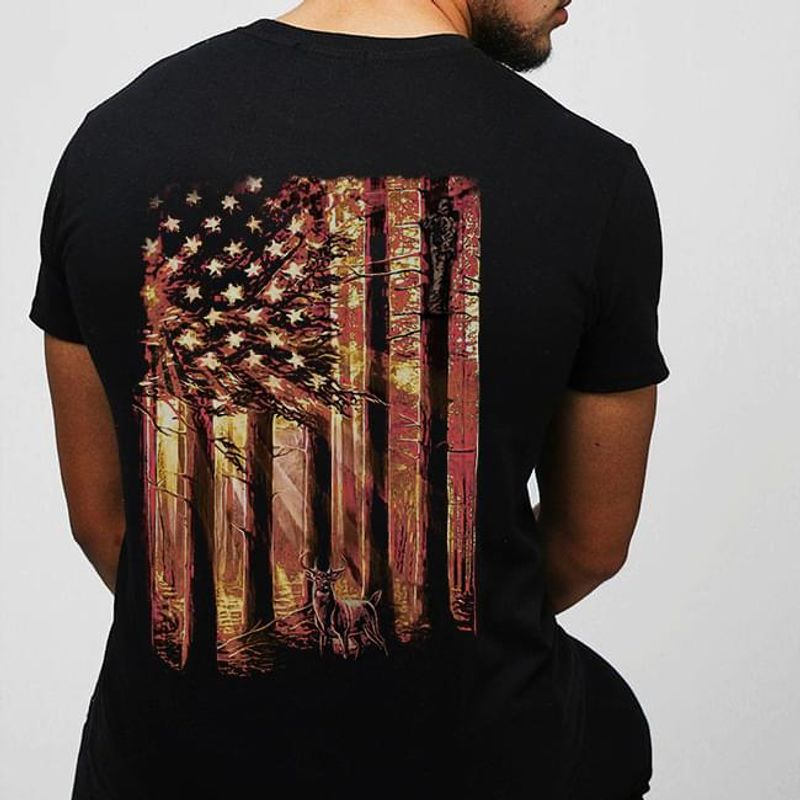 American Hunter Deer Hunting Us Flag Deer In The Forest Graphic Black T Shirt Men And Women S-6XL Cotton