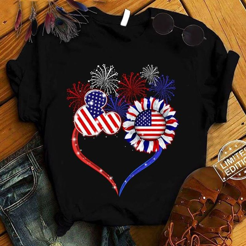 American Independence Day Sunflower And Mickey Mouse With Firework Black T Shirt Men/ Woman S-6XL Cotton