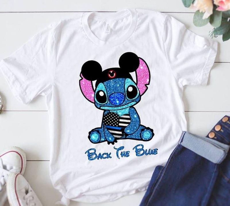 American Police Officer Black The Blue Stitch Mickey Cap White T Shirt Men And Women S-6XL Cotton