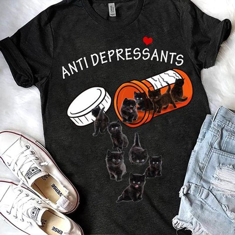 Anti Depressants Black Cat T Shirt Black A8