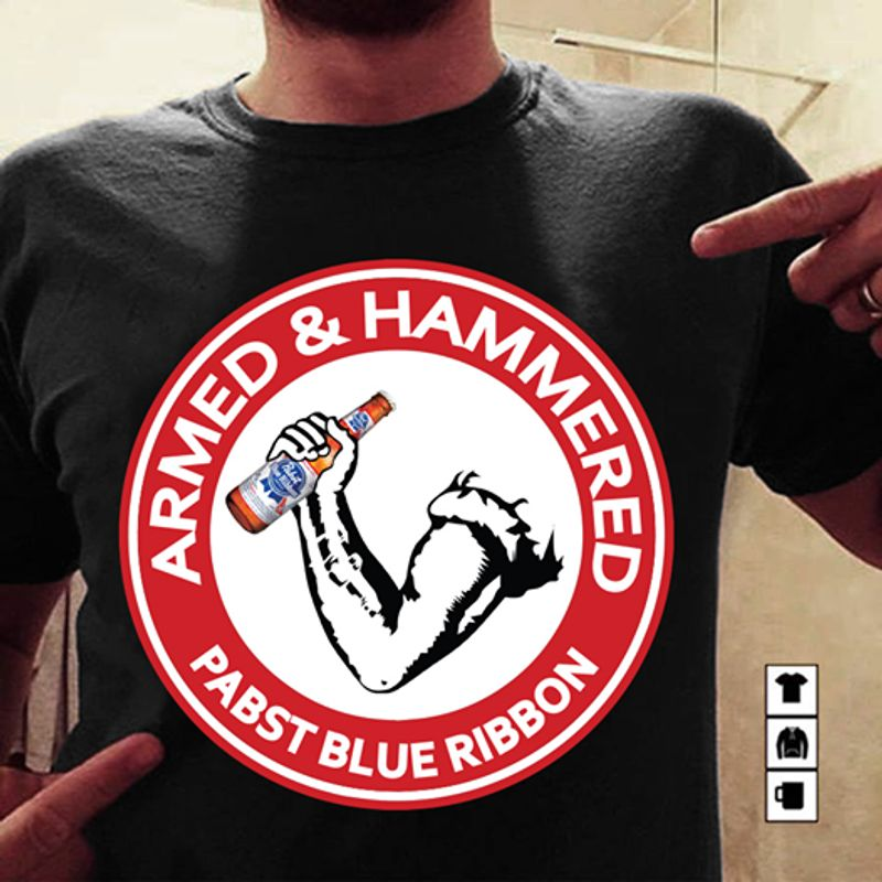 Armed Hammered Pabst Blue Ribbon T-shirt Black A8