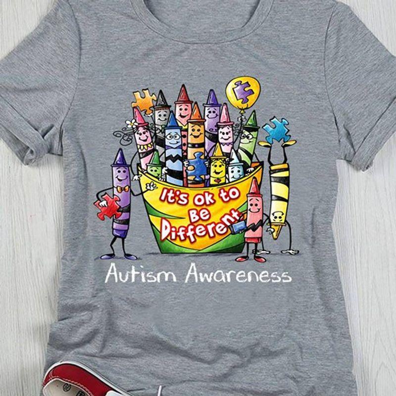 Autism Awareness Crayon T Shirt Grey A8