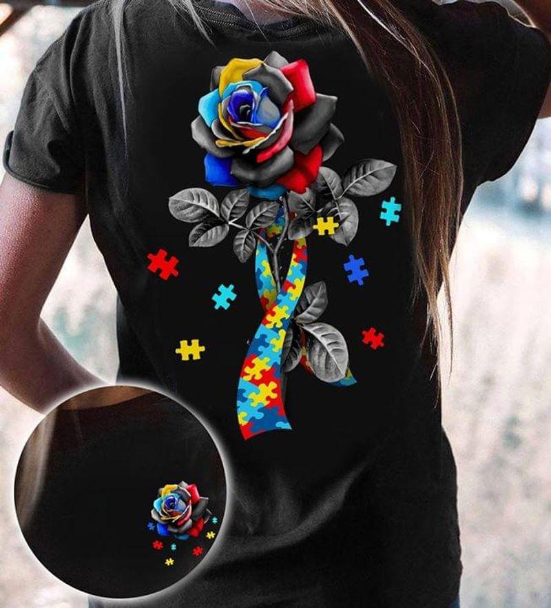 Autism Awareness Rose Autism Support Black T Shirt Men And Women S-6xl Cotton