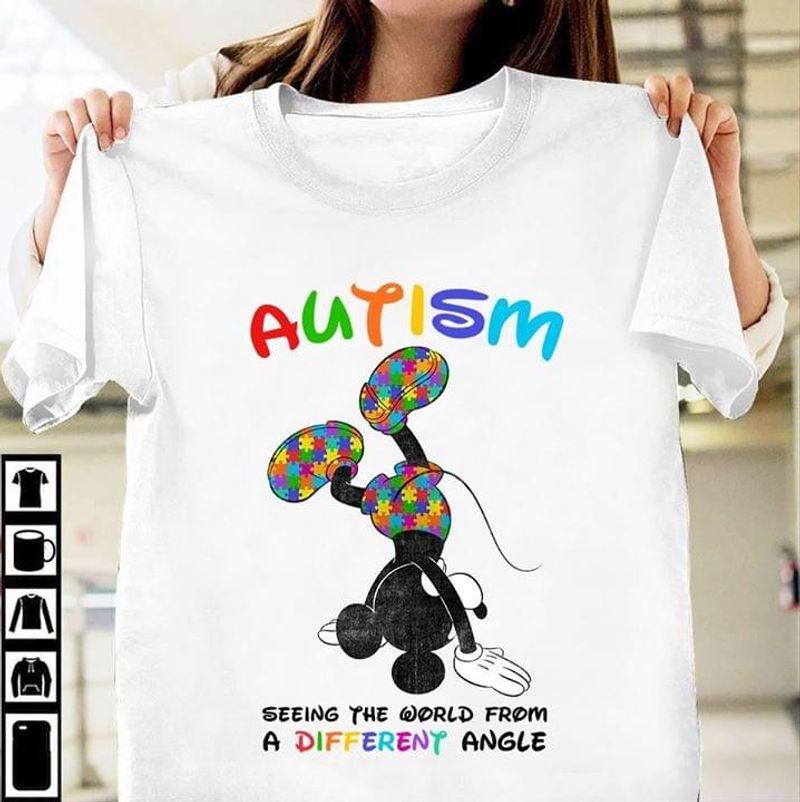 Autism Awareness Seeing The World From A Different Angle Mickey Mouse White T Shirt Men And Women S-6XL Cotton