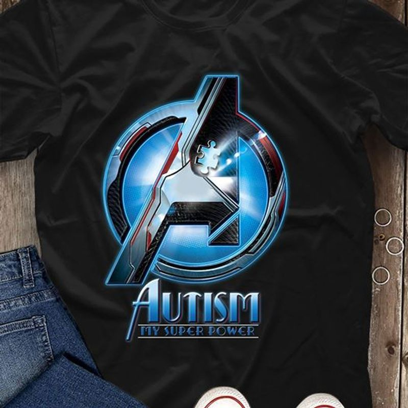 Autism My Super Power Avengers T-shirt Black