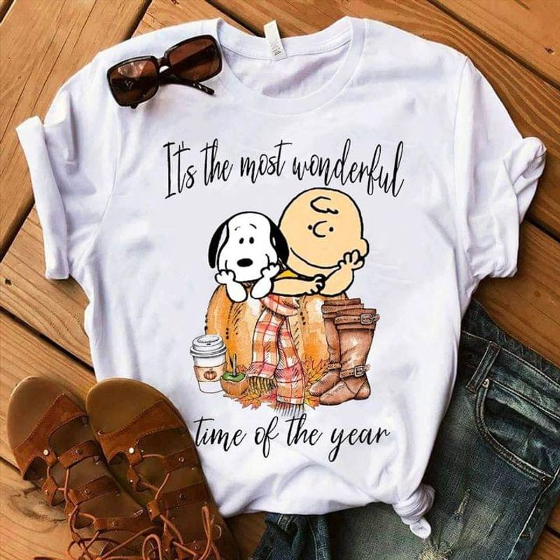 Autumn It's The Most Wonderful Time Of The Year Sn00py & Charlie Br0wn Chin On The Hands White T Shirt Men And Women S-6XL Cotton