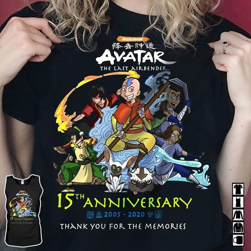 Avatar The Last Airbender 15th Anniversary 2005 2020 Thank You For The Memories Black T Shirt Men And Women S-6xl Cotton