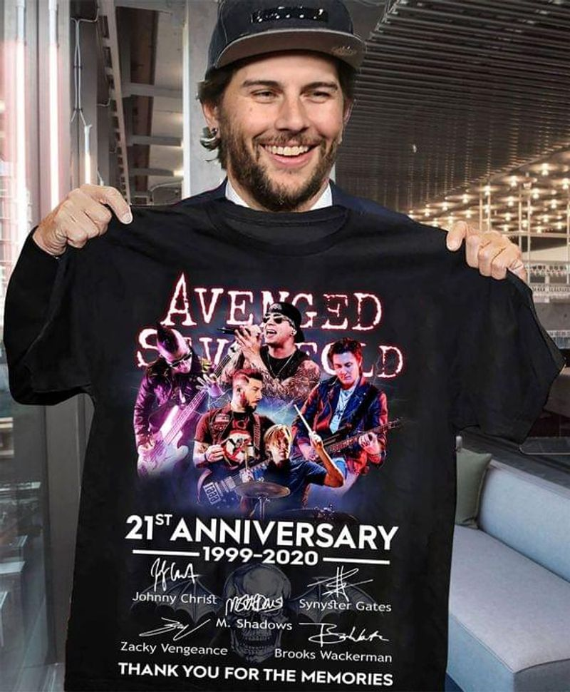 Avenged Sevenfold Signature 21st Anniversary 1999-2020 Rock Band Music Lover Gift Black T Shirt Men And Women S-6XL Cotton