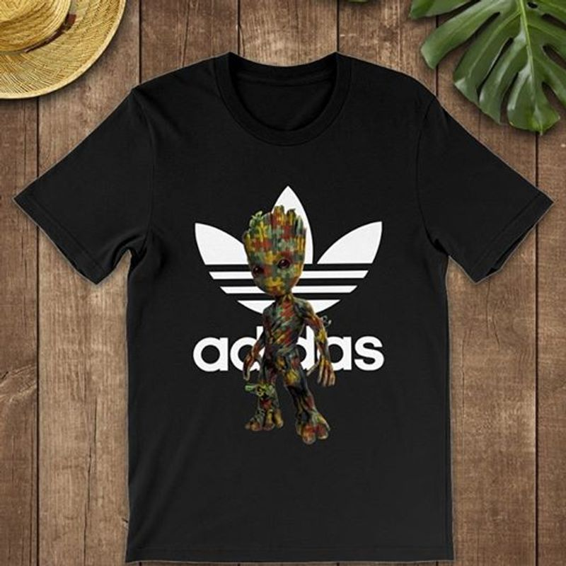 Baby Groot Autism Adidas  T-shirt Black A5
