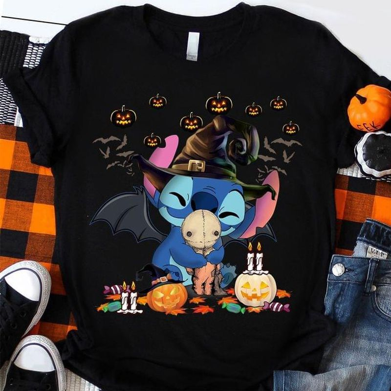 Baby Stitch Hug Funy Stitch Witch Pumpkin Happy Halloween Black T Shirt Men And Women S-6XL Cotton