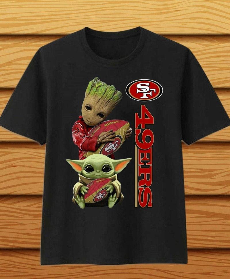 Baby Yoda And Baby Groot Hug San Francisco 49Ers Logo T Shirt Black