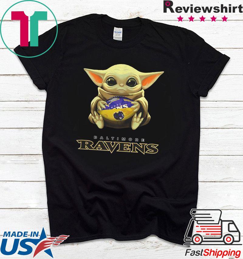 Baby Yoda Hug Baltimore Ravens Logo T Shirt Black