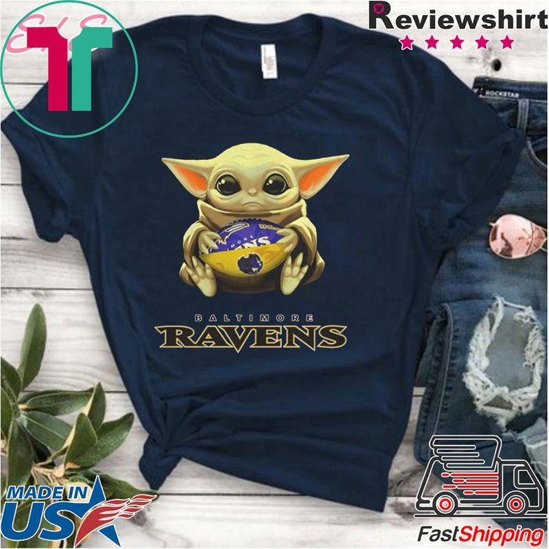 Baby Yoda Hug Baltimore Ravens Logo T Shirt Navy
