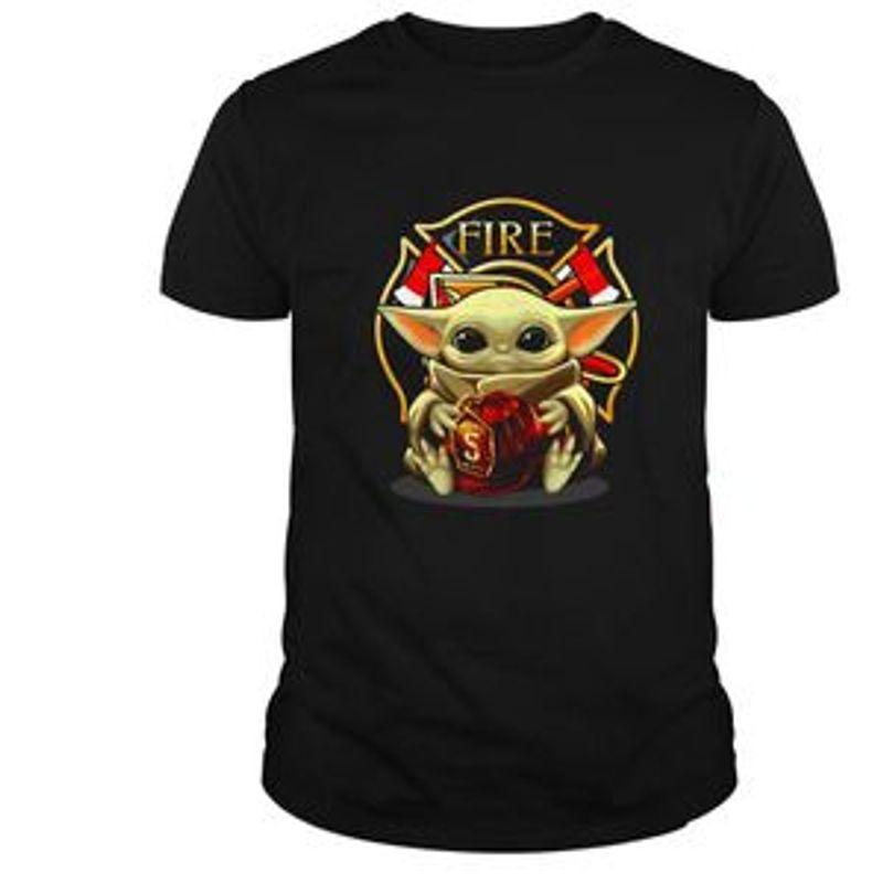Baby Yoda Hug Firefighter Emblem T-shirt – Black