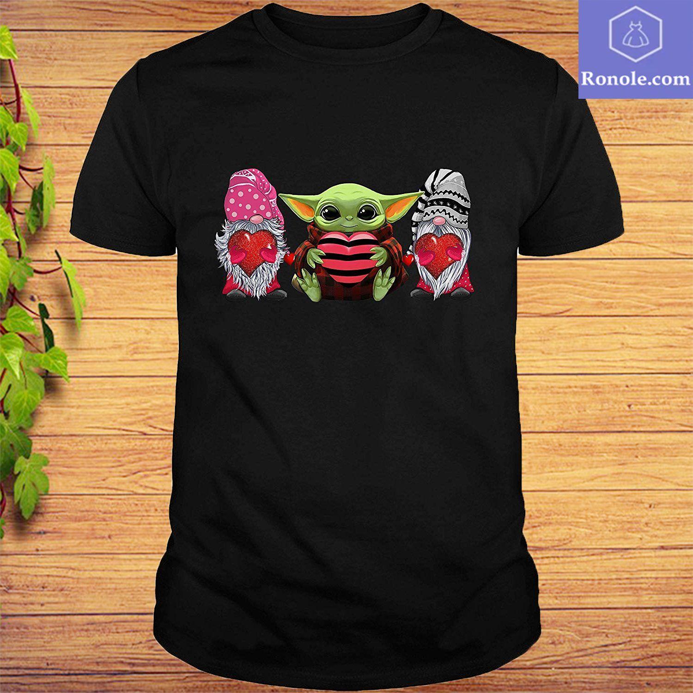 Baby Yoda Hug Heart For Couple Men Women Kids T-Shirt