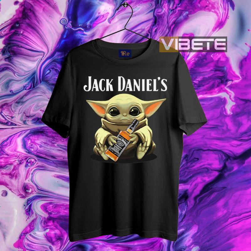 Baby Yoda Hug Jack Daniel's Whiskey T-Shirt Black