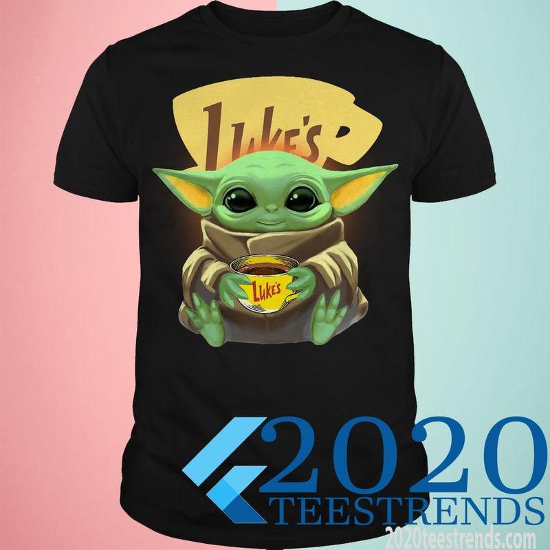 Baby Yoda Hug Luke'S Coffee'S Logo T Shirt Black
