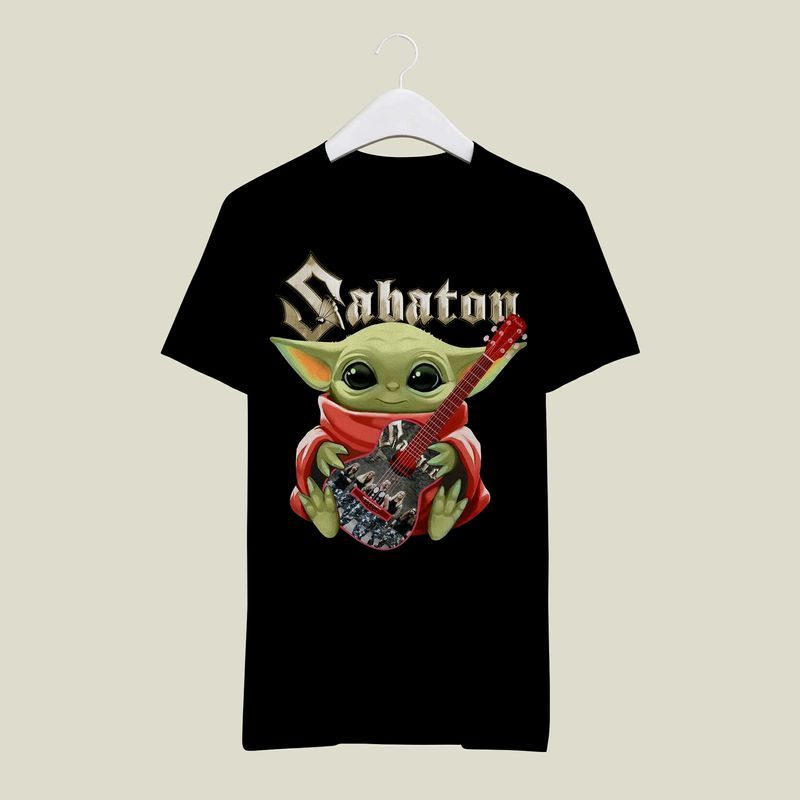 Baby Yoda Hug Sabaton Electric Guitar's Logo T Shirt Black