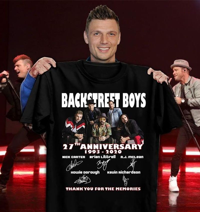 Backstreet Boys 27th Anniversary 1993-2020 Thank You For The Memories Character Signature Black T Shirt Men/ Woman S-6XL Cotton