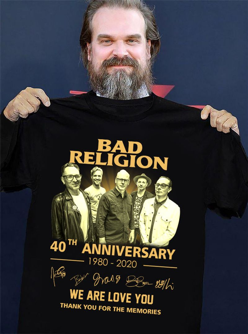 Bad Religion 40th Anniversary 1980 2020 Signatures We Are Love You Thank You For The Memories T Shirt Black
