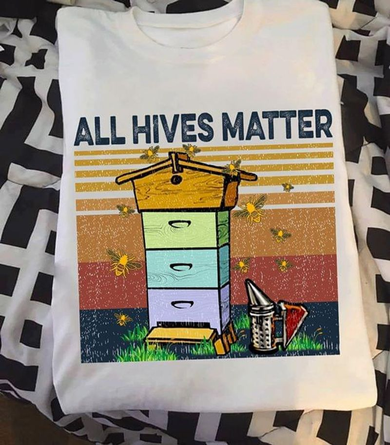 Beekeeper Beehives All Hives Matter Beekeeping Vintage Shirt For Bee Lovers White T Shirt Men And Women S-6XL Cotton