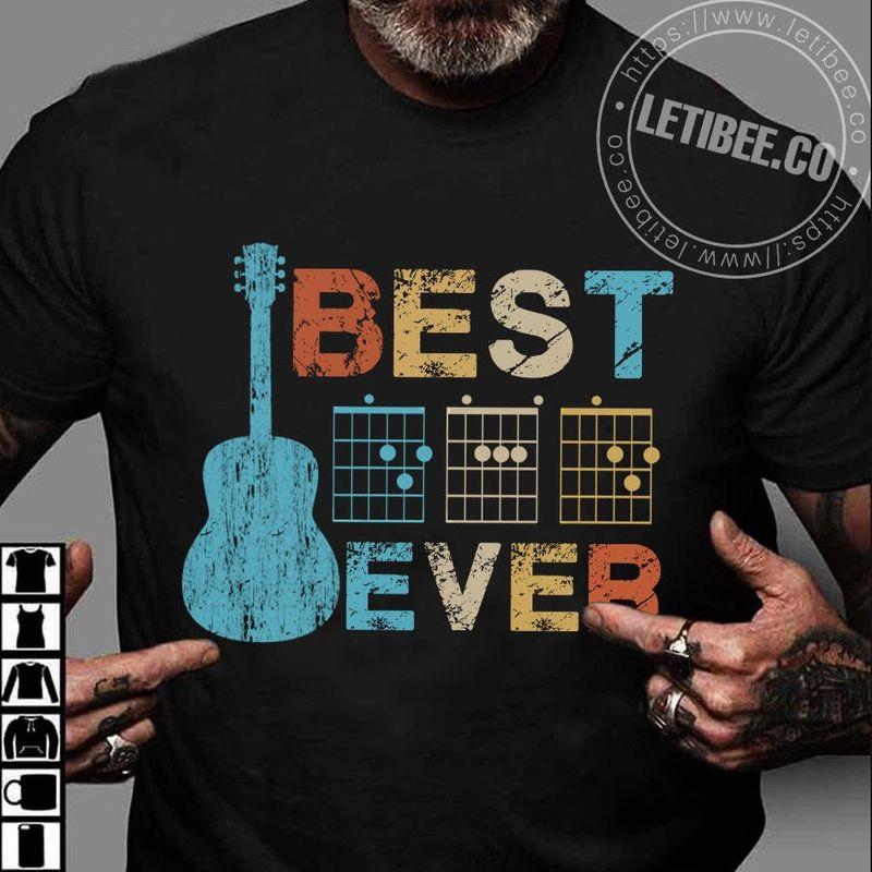 Best Dad Ever Guitar Chord Version Vintage T Shirt Black
