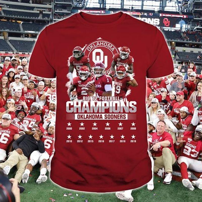 Big 12 Champions Oklahoma Sooners T-shirt Red
