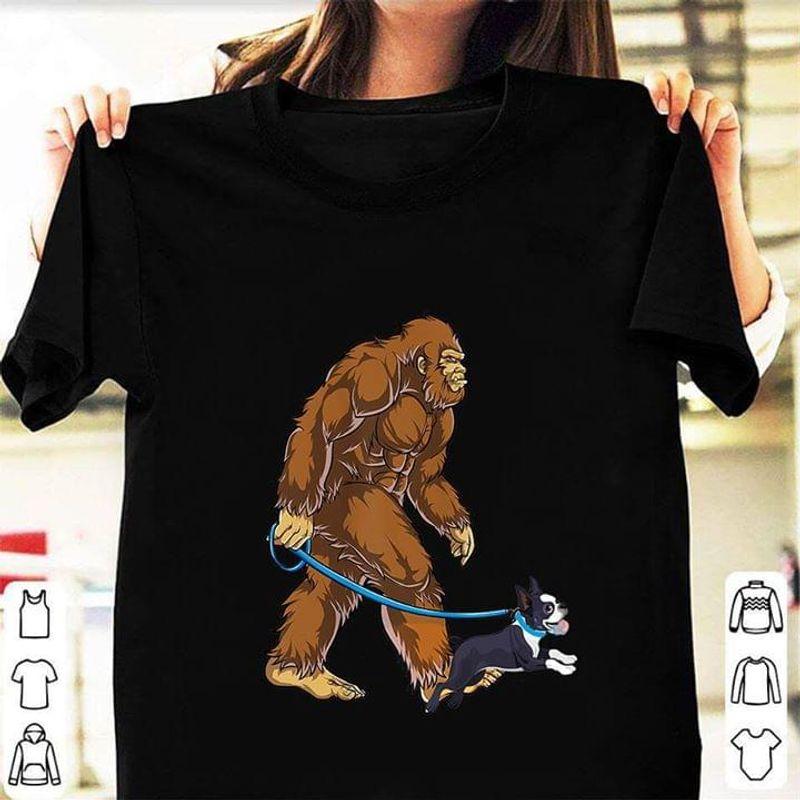 Bigfoot Sasquatch Walking Boston Terrier Black T Shirt Men/ Woman S-6XL Cotton